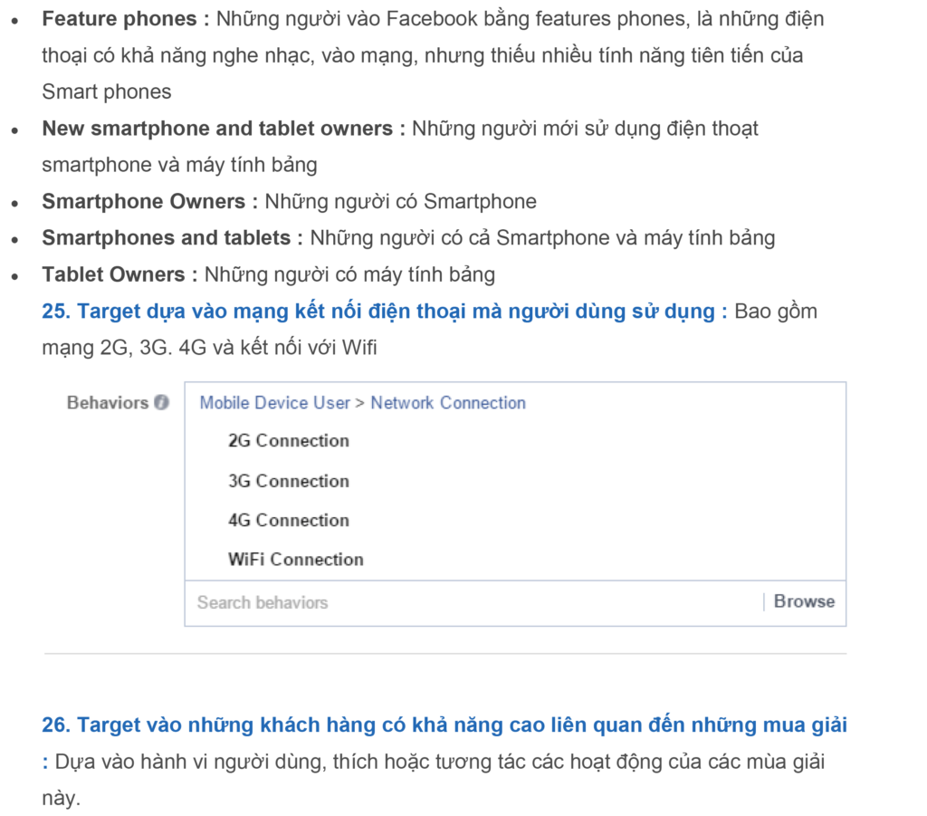 dac diem co the target trong quang cao facebook 1