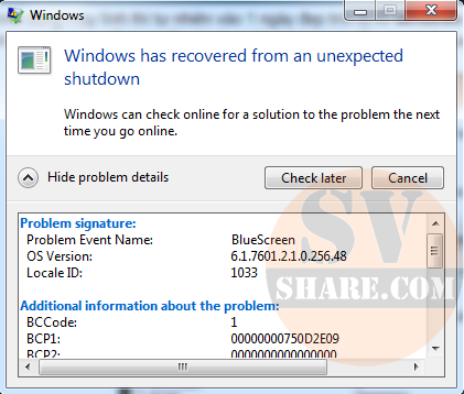 Lỗi windows has recovered from an unexpected shutdown