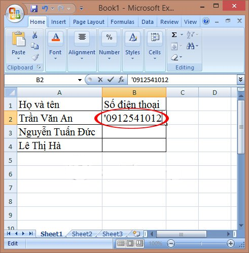 hien thi so 0 dang truoc trong excel