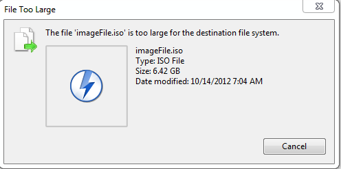 lỗi The file is too large for the destination file system