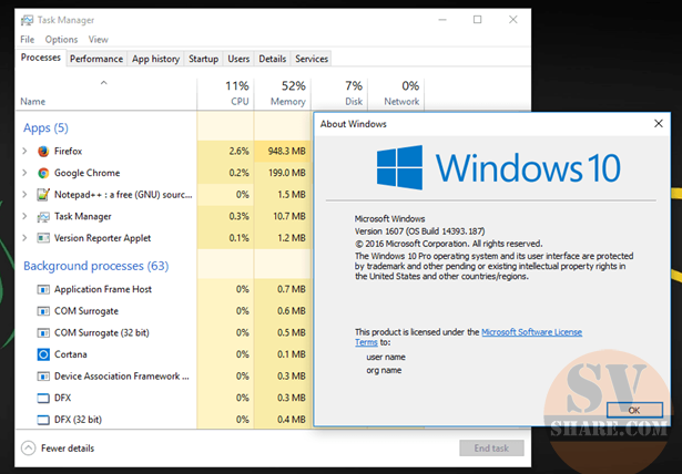 Task Manager tren Windows 10