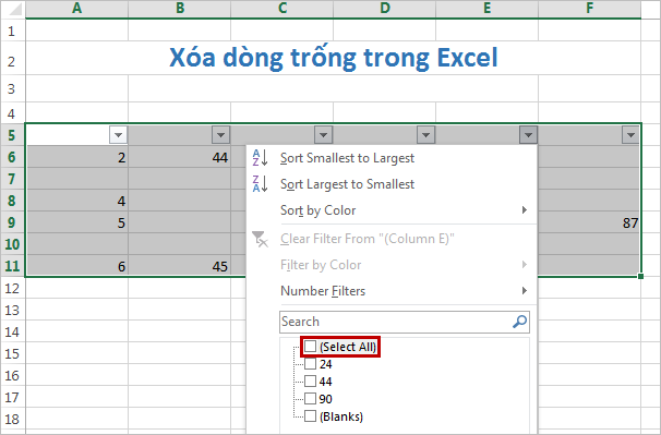 cac buoc de chen dong trong trong excel