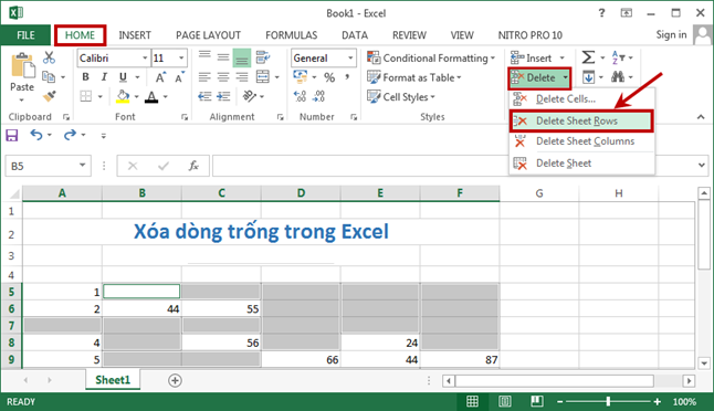 cach chen dong vao trong excel