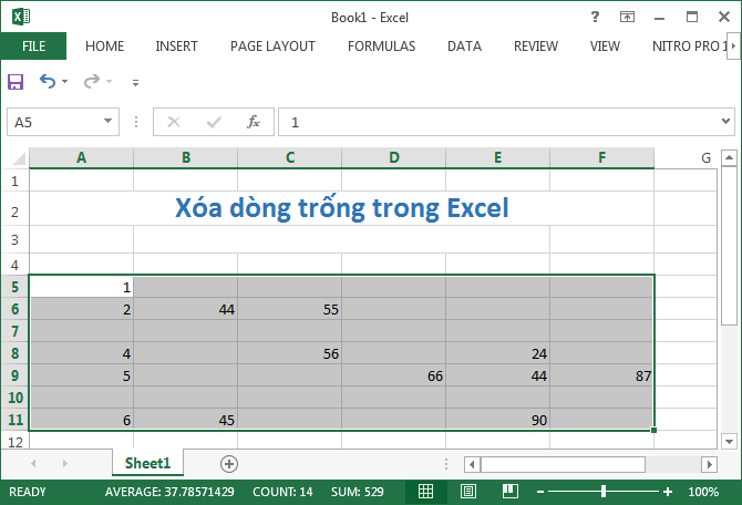 cach xoa dong trong trong excel