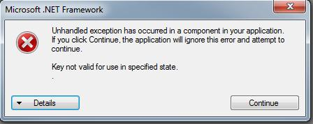 loi unhandled exception has occurred in your application