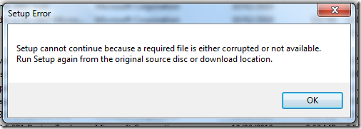 Setup cannot continue because a required file