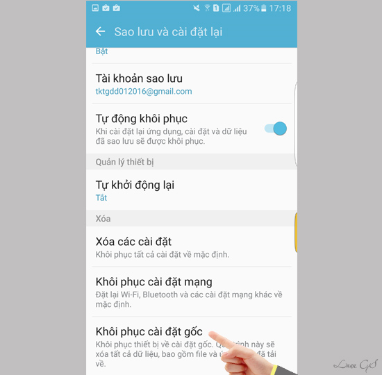 cai dat goc samsung Galaxy S7 Edge nhu the nao