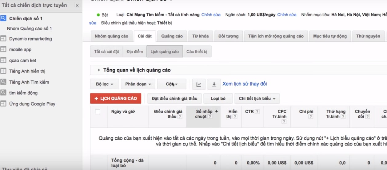 cach lap lich trong google adwords