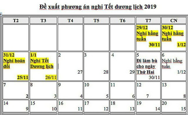 tet duong lich 2019 duoc nghi may ngay